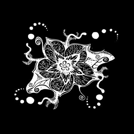 Black-white illustration of a mandala flower with patterns, ornaments, an idea for a tattoo. Иллюстрация