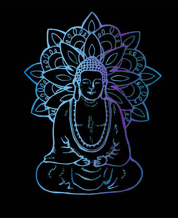 Illustration of a meditating mandala buddha. Neon mandala in the style of sentangle. Street art Stockfoto - 130546277