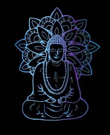 Illustration of a meditating mandala buddha. Neon mandala in the style of sentangle. Street art