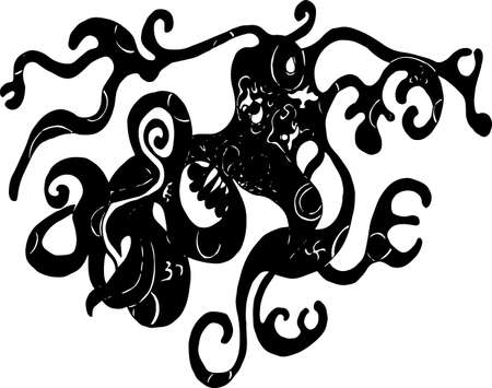 Black and white illustration of psychedelic octopus. Иллюстрация