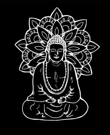 Illustration of a meditating mandala buddha. Mandala in the style of sentangle. Street art. Chalk on a blackboard. Illustration