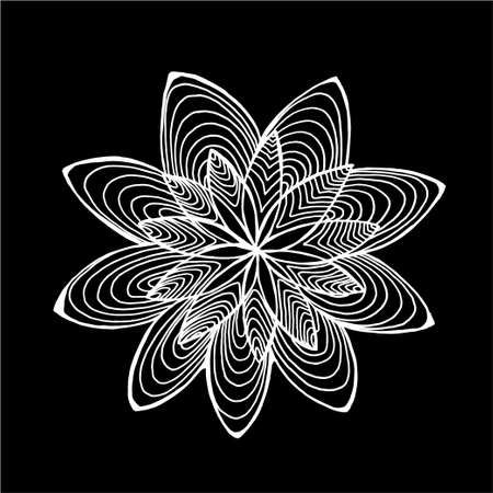 Black and white flower pattern. Psychedelic motif. Chalk on a blackboard