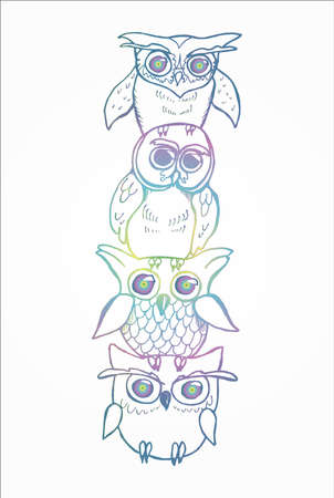 Color illustration of a totem of owls. Owls on top of each other