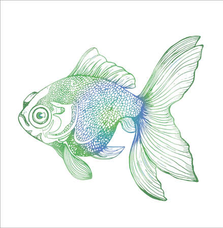 Neon illustration of a fish. Black and white carp drawing