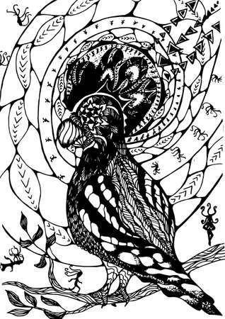 Black white picture with abstract pattern, psychedelic bird and meditating people.