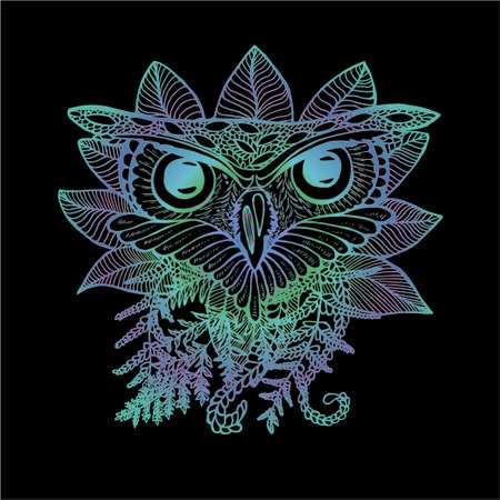 Neon illustration of an owl. Drawing of an owl and plants Ilustração
