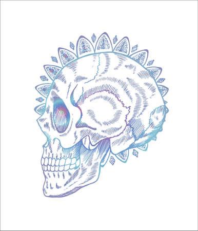 Neon pattern of skull illustration in profile. Skull and mandala in style