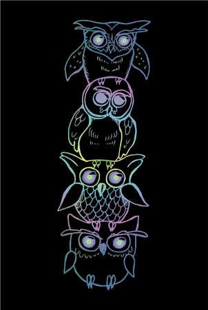 Gradient illustration of a totem of owls. Owls on top of each other Ilustração