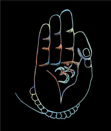 The arm of the shiva with ohm. Neon illustration of hands and rudraksh