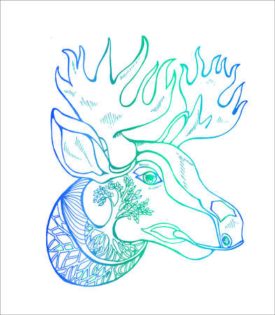 Neon illustration of a moose with horns, ornament. Idea for tattoo.