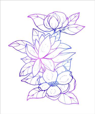 Neon pattern of flowers. Small bouquet. Idea for tattoo. Standard-Bild - 133468092