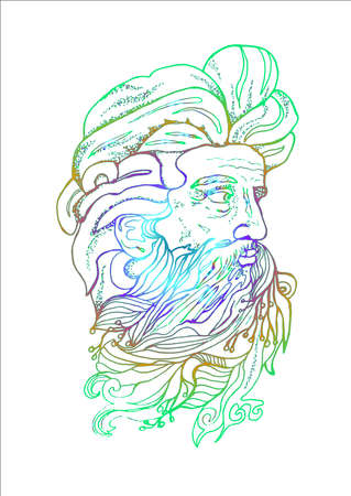 Neon illustration of a mans head with a beard and branches. Illustration