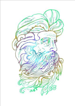 Neonillustration des Kopfes eines Mannes mit Bart und Zweigen.