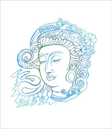 Color illustration of guan yin. Stylized deity guan yin. 向量圖像