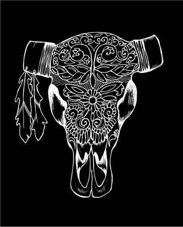 Black and white illustration of a bulls skull. Decorated cows head. Chalk on a blackboard. Illustration