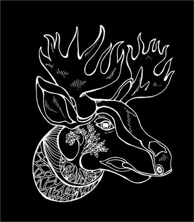 Illustration of a moose with horns, ornament. Idea for tattoo.