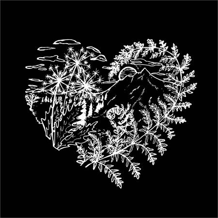 Black and white drawing of the heart, in which dandelions, fern, sunset, mountains, clouds, trees. 向量圖像