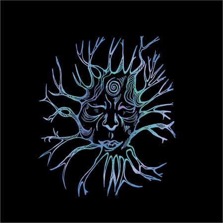 Neon illustration of the spirit of the forest. Face with eyes closed and roots.