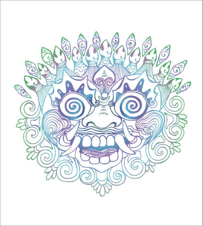Iilustration of a Thai mask. Color drawing of the eastern deity Çizim