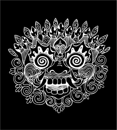 Iilustration of a Thai mask. Black and white drawing of the eastern deity