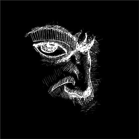 Illustration of eye, nose, frowning eyebrow technique. Ilustracja