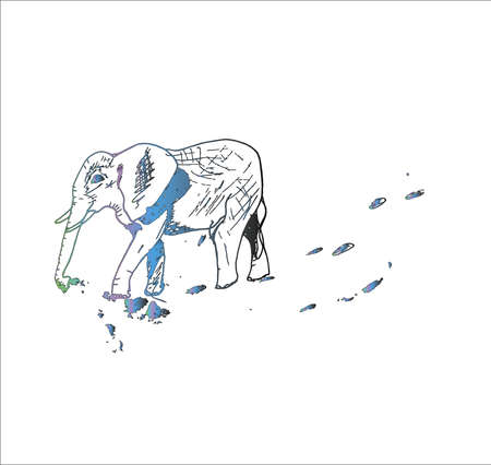 Illustration of a walking elephant, made in the style of hatching. 일러스트