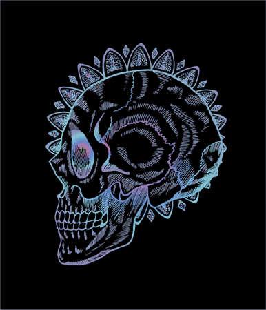 Gradient neon skull illustration in profile. Skull and mandala in style