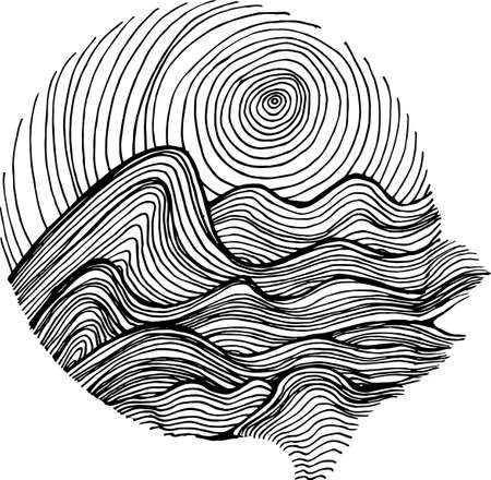 Black white picture of sea waves and sky in hatching style. Illustration