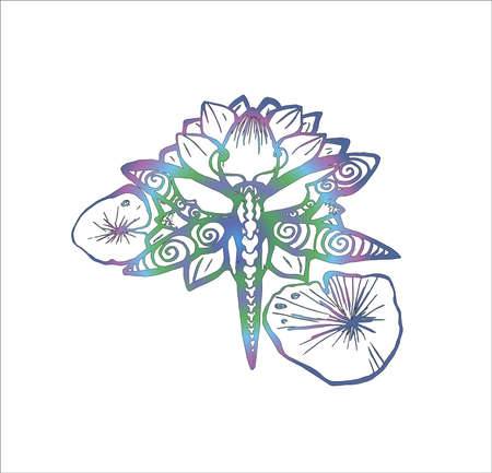 Illustration of a dragonfly on a lotus. Tattoo idea.