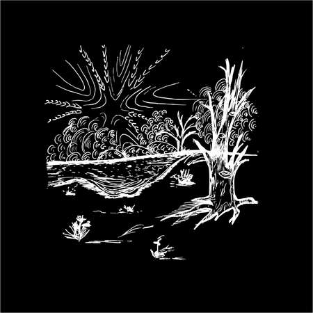 Black white illustration of a psychedelic landscape. Water, sky, tree with an eye. 일러스트