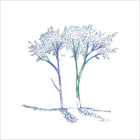 Neon illustration of tree branches. The play of light and shadow.