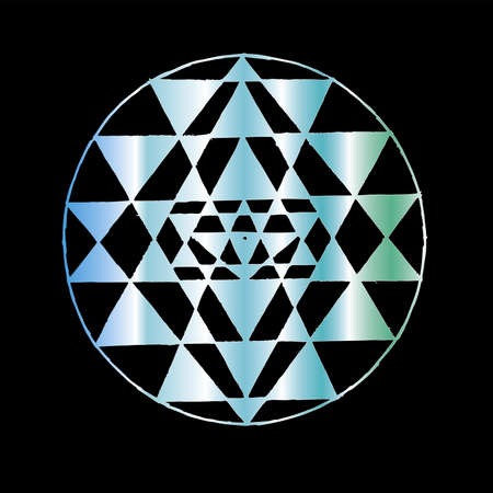 Gradient illustration of Shri Yantra. Triangles and concentration background. Tattoo idea.