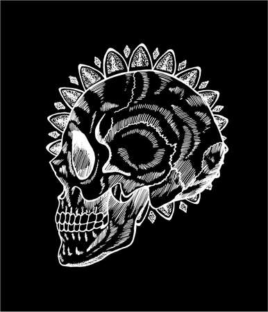 Black and white skull illustration in profile. Skull and mandala in style