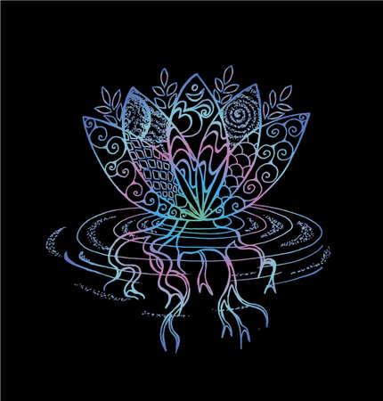 Color lotus illustration. Pattern, om and flower