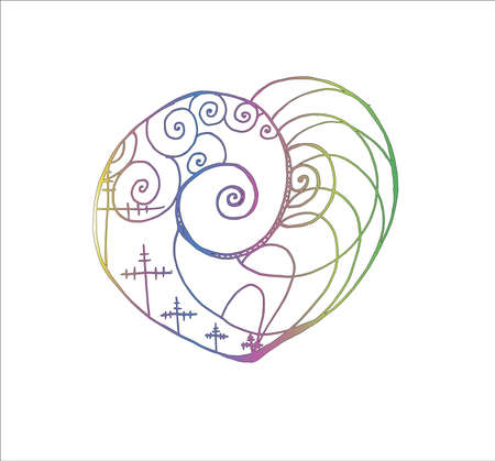 Illustration with tension pillars, spirals, waves inscribed in the heart. Technique and progress. Çizim