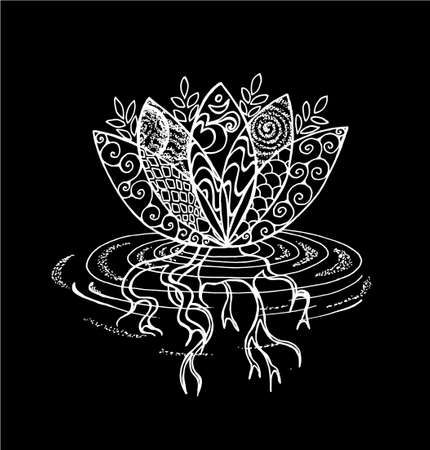 Black and white lotus illustration. Pattern, om and flower