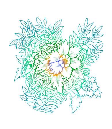 Gradient illustration of a bouquet of flowers. Black and white bouquet Standard-Bild - 133474892