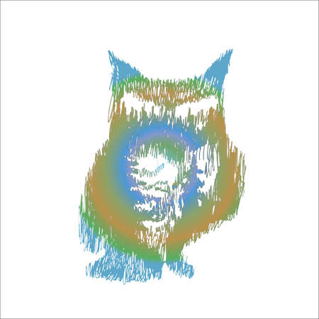 Gradient illustration Owls with double exposure in the technique of hatching. Owl and forest.