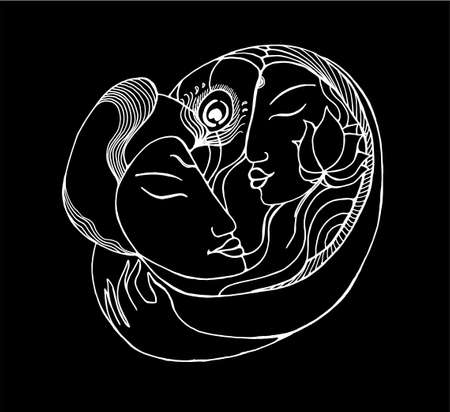 Black and white picture of a couple. Illustration natural love