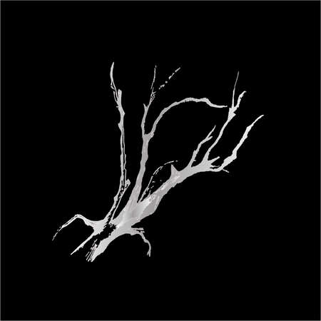 Black white illustration of tree branches. The play of light and shadow.