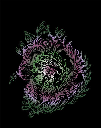Illustration of a cat made of branches and leaves. Color drawing of a cat in profile. Standard-Bild - 133475130