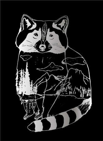 Black and white illustration of a raccoon, mountains and forests in it. Double Exposure