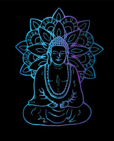 Illustration eines meditierenden Mandala-Buddha. Neon-Mandala im Stil von Sentangle. Straßenkunst