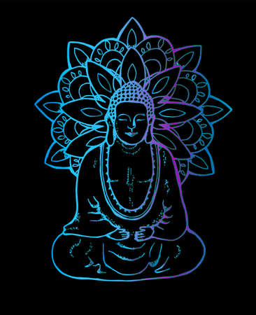 Ilustración de un buda mandala meditando. Mandala de neón al estilo de sentangle. arte callejero