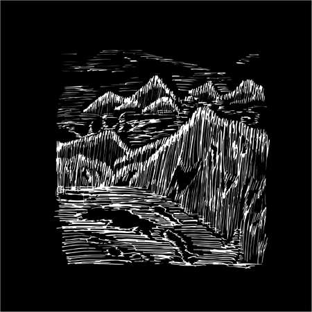 Illustration of mountains and far, floating in the mist of mountains and lakes, made by shading.