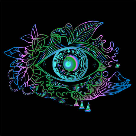 Color picture of an cosmic eye on a background of a landscape. Psychodynamic background