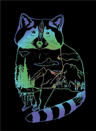 Gradient illustration of a raccoon, mountains and forests in it. Double Exposure