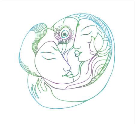 Gradient picture of a couple. Gradient illustration natural love Çizim