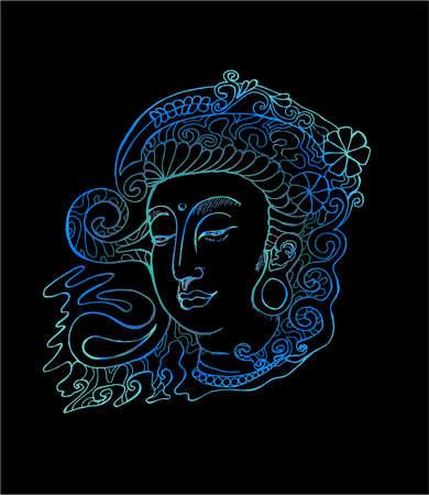 Neonillustration von Guan Yin. Stilisierte Gottheit Guan Yin.