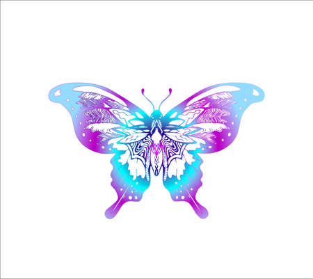Neon butterfly illustration. Ornament, poetry of the night.